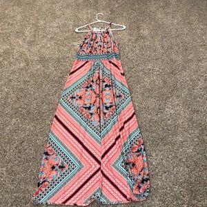 Long patterned halter top dress